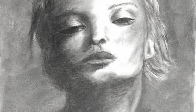 Visage feminin fusain 2